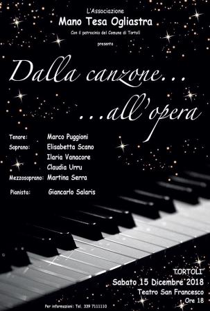 'Dalla canzone...all'opera', concerto di musica classica al teatro San Francesco
